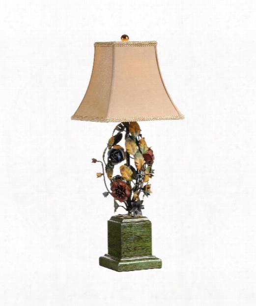 Ball O Flowers 1 Light Table Lamp In Florentine Ironwork