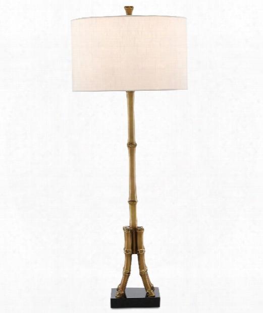 "Bansari 13"" 1 Light Table Lamp In Antique Brass-black"