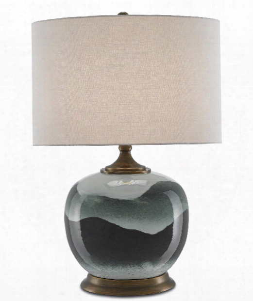 """Boreal 17"""" 1 Light Table Lamp In White-green-antique Brass"""