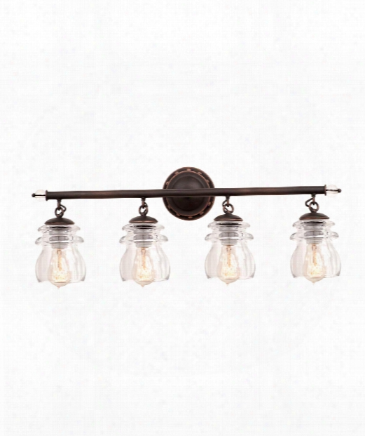 "Brierfield 28"" 4 Light Bath Vanity Light In Antique Copper"