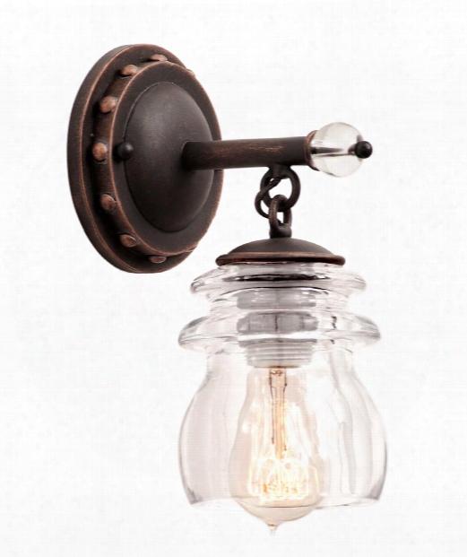 "Brierfield 5"" 1 Light Bath Vanity Light In Antique Copper"