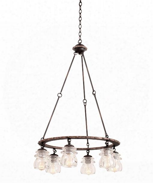Brierfield 6 Light Chandelier In Antique Copper