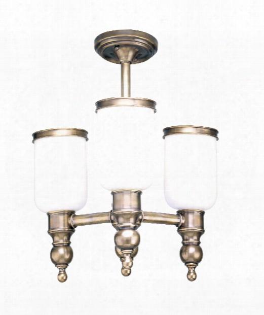 "Chatham 16"" 3 Light Semi Flush Mount In Antique Nickel"
