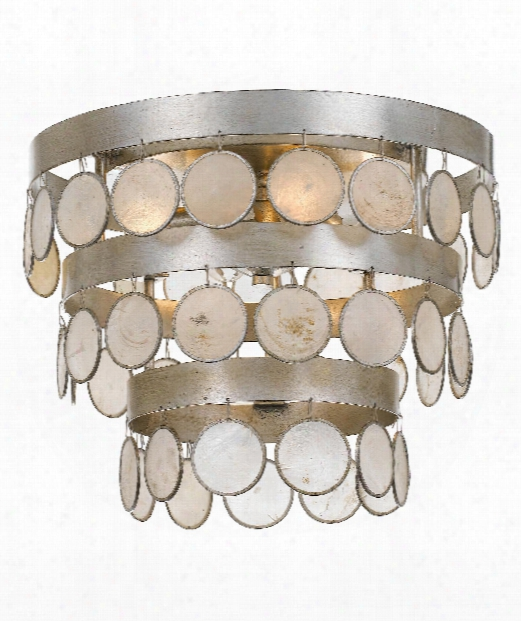 "Coco 14"" 4 Light Flush Mount In Antique Silver"