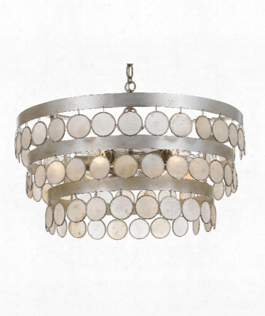 "Coco 22"" 6 Light Large Pendant In Antique Silver"