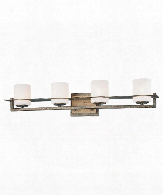 "Compositions 27"" 4 Light Bath Vanity Light In Aged Patina Iron"