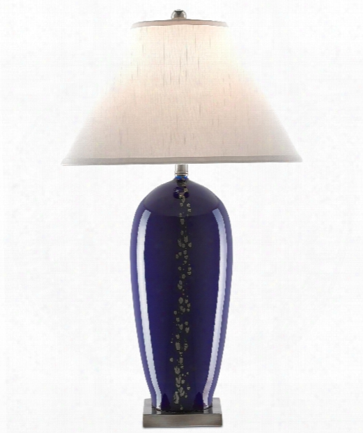 "Gentian 18"" 1 Light Table Lamp In Navy Blue-silver-antique Nickel"