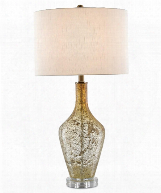 "Habib 16"" 1 Light Table Lamp In Champagne Speckled Glass-clear"