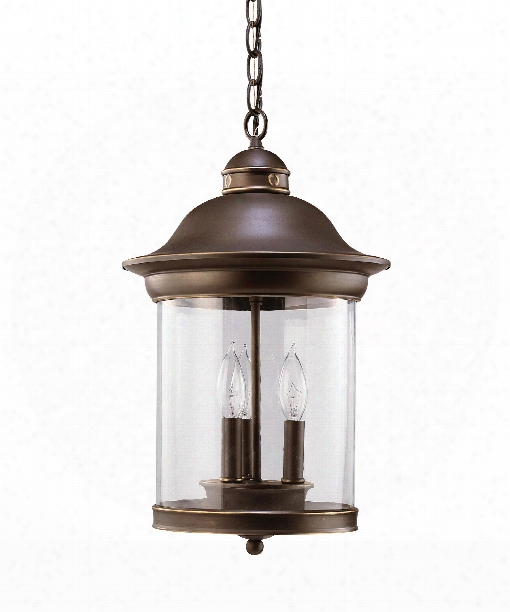 Hermitage Led 3 Light Outdoor Hanging Lantern In Antique Bronze
