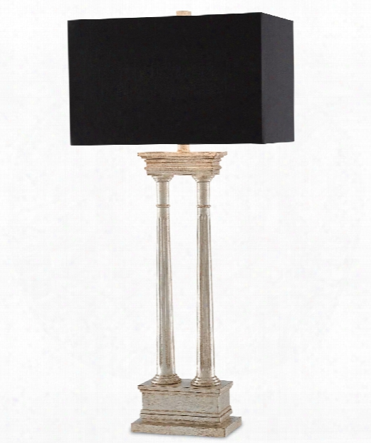 """Indre 16"""" 1 Light Table Lamp In Antique Silver Leaf"""