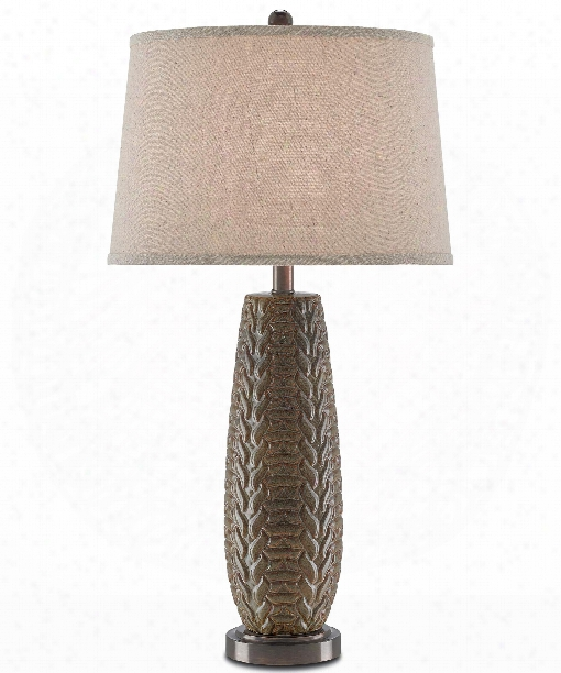 """Moses 16"""" 1 Light Table Lamp In Green-antique Bronze"""