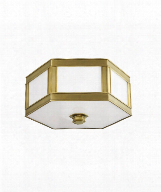 "Nassau 13"" 2 Light Flush Mount In Aged Brass"