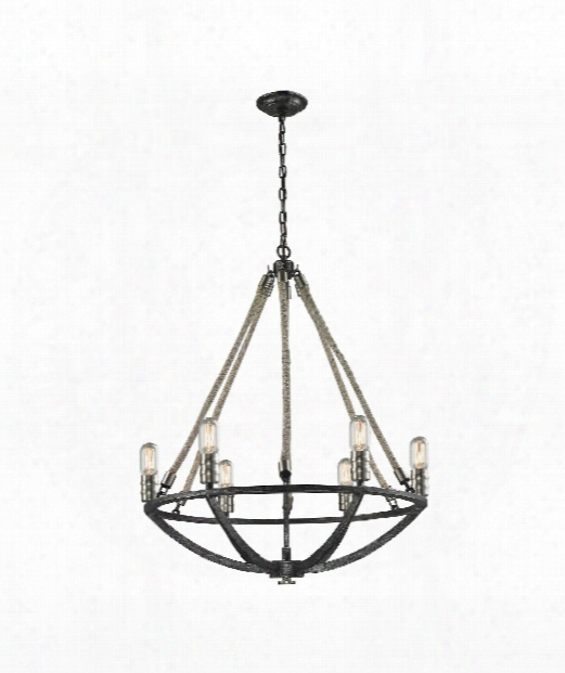 "Natural Rope 25"" 6 Light Chandelier In Silvered Graphite-polished Nickel"