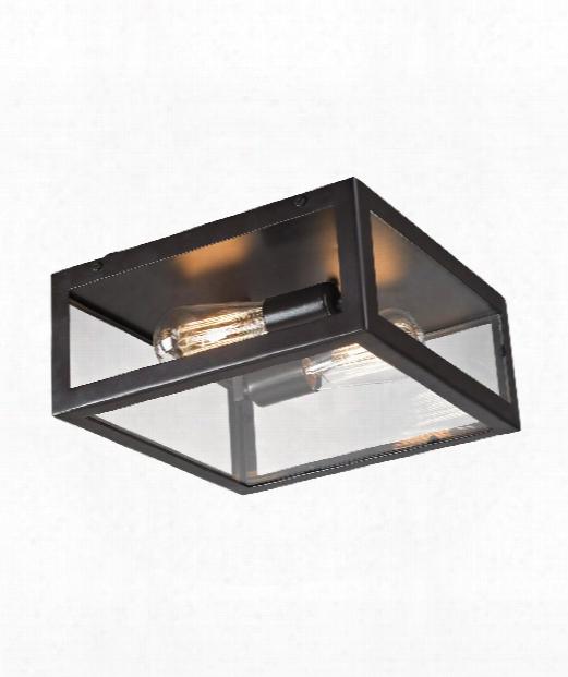 "Parameters-bronze 12"" 2 Light Flush Mount In Bronze"