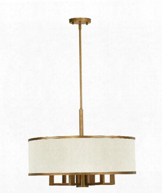 Park Ridge 6 Light Large Pendant In Hand Painted Antique Gold Leaf