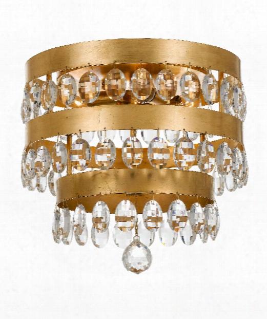 """Perla 14"""" 4 Light Flush Mount In Antique Gold"""