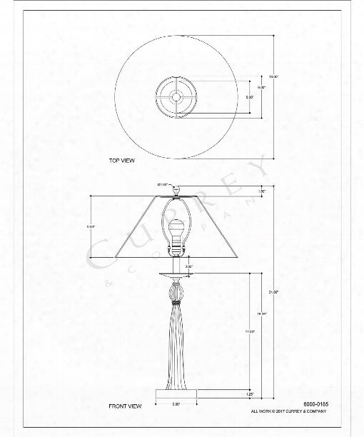 "Sceptre 18"" 1 Light Table Lamp In Vintage Brass-black"