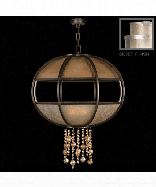 "Singapore Moderne 42"" 8 Light Large Pendant In Warm Muted Silver Leaf"