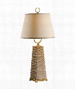 Dotted Pyramid With Ring 1 Light Table Lamp in Porcelain Brass Base and Accents