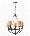 "Natural Rope 22"" 5 Light Chandelier in Aged Bronze"