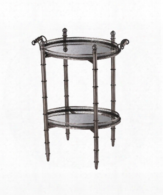 "Tyrella 23"" Accent Table In Painted Silver"