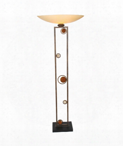 Wheels Of Passion 1 Light Torchiere Lamp In Golden Ochre-black