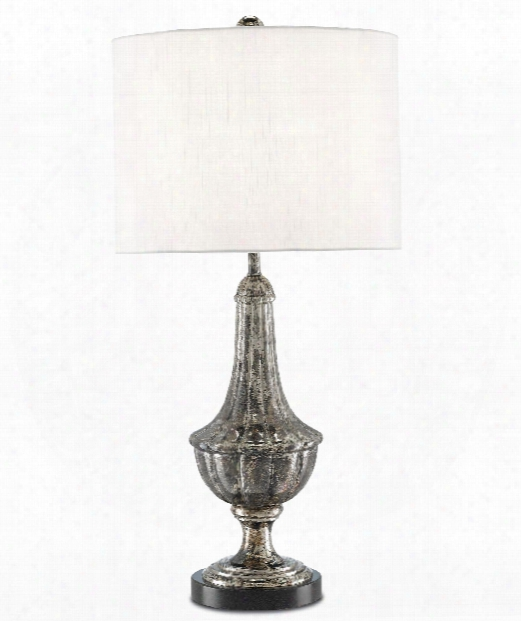 """Yangshao 14"""" 1 Light Table Lamp In Tarnished Silver-black"""