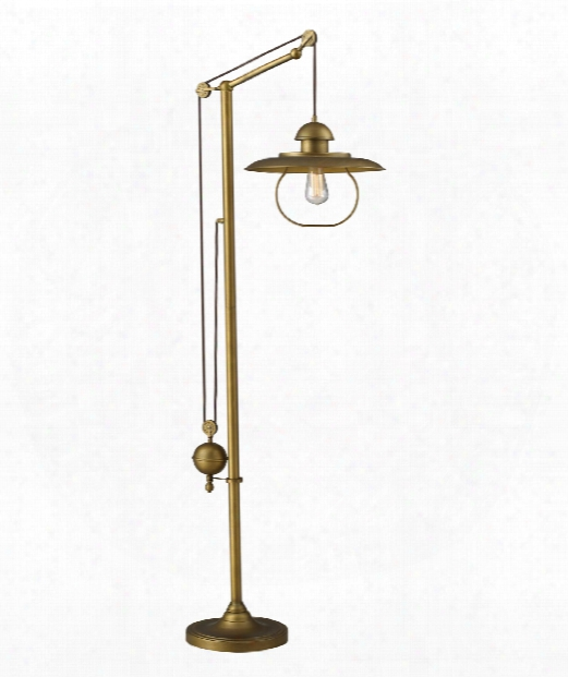 "Farmhouse 15"" 1 Light Floor Lamp In Antique Brass"