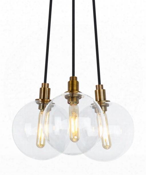 """Gambit 9"""" Led 3 Light Multi Pendant Light In Aged Brass"""