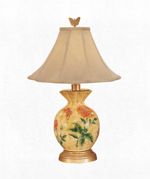 Gathered Vase 1 Light Table Lamp In Antique Gold Wood Base