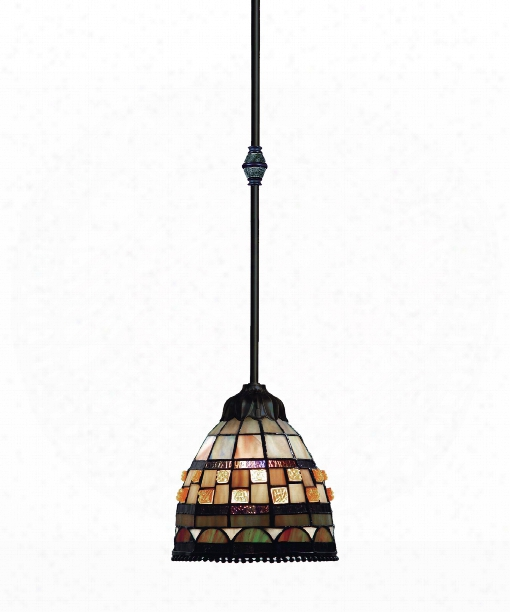 "Jewelstone 7"" 1 Light Mini Pendant In Classic Bronze"