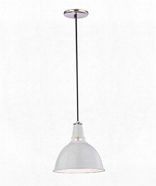 """Lydney 16"""" 1 Light Large Pendant In White With Polished Nickel"""