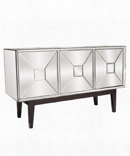 "Mirrored 54"" Drawer Chest In Mirrored-espresso Brown"