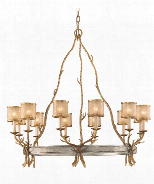 "Parc Royale 41"" 12 Light Chandelier In Gold And Silver Leaf"