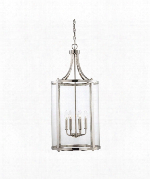 "Penrose 16"" 6 Light Foyer Pendant In Polished Nickel"