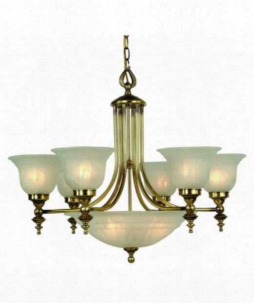 "Richland 27"" 9 Light Chandelier In Old Brass"