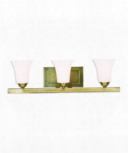 "Ridgedale 25"" 3 Light Bath Vanity Light In Antique Brass"