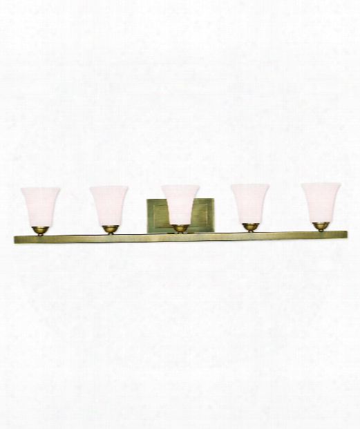 "Ridgedale 43"" 5 Light Bath Vanity Light In Antique Brass"