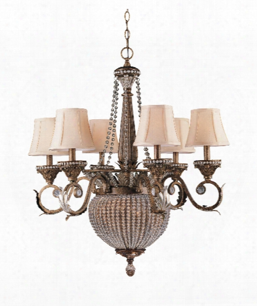 "Roosevelt 28"" 6 Light Chandelier In Weathered Patina"