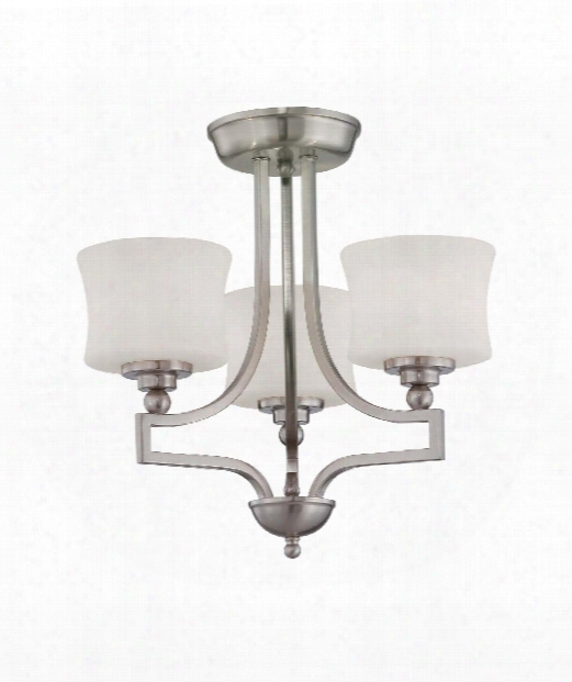 "Terrell 18"" 3 Light Semi Flush Mount In Satin Nickel"