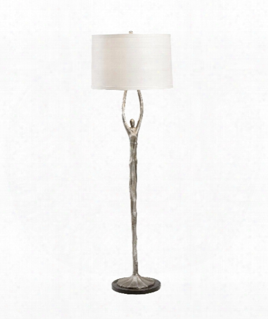 Thalia 2 Light Floor Lamp In Antique Silver