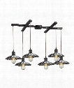"Corrine 33"" 6 Light Multi Pendant Light in Oil Rubbed Bronze-Chrome"