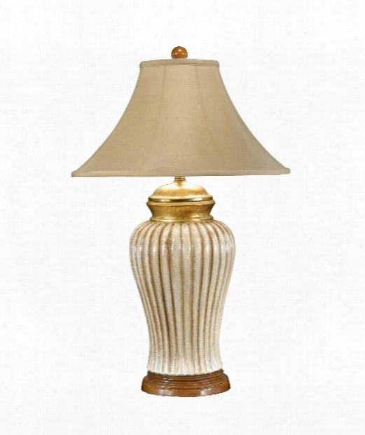 1 Light Table Lamp In Old White With Gold Accents