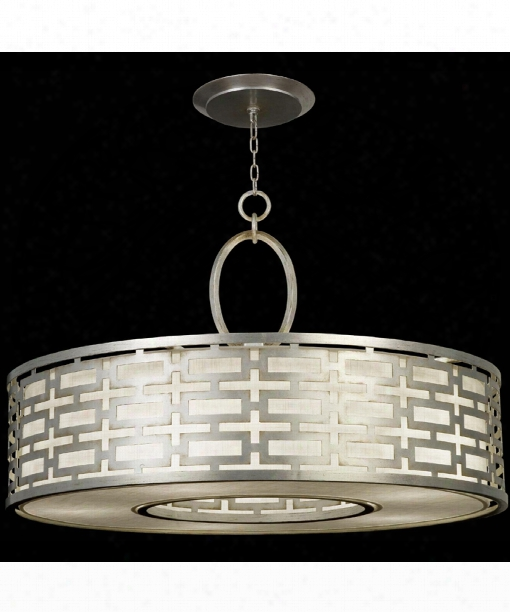 "Allegretto 40"" 5 Light Large Pendant In Platinized Silver Leaf"