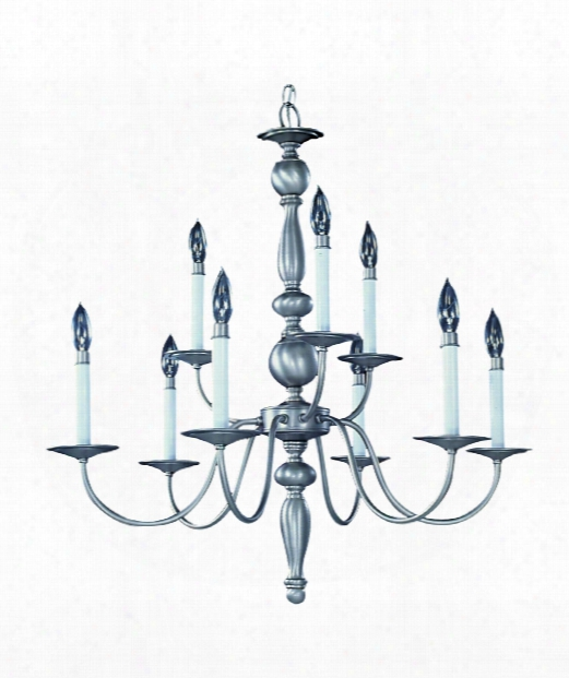 "Early American 28"" 9 Light Chandelier In Mahogany Bronze"