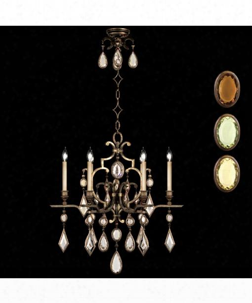 "Encased Gems 29"" 6 Light Chandelier In Bronze"
