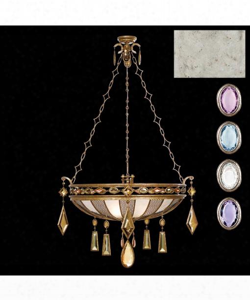 "Encased Gems 35"" 3 Light Large Pendant In Silver"