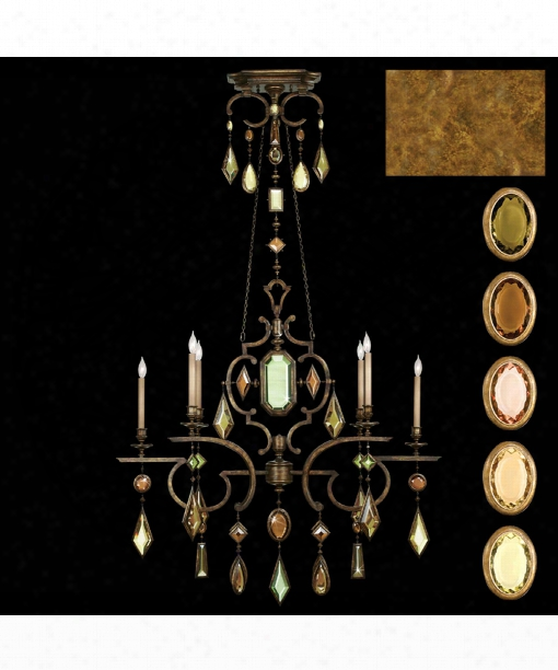 "Encased Gems 50"" 6 Light Chandelier In Gold"