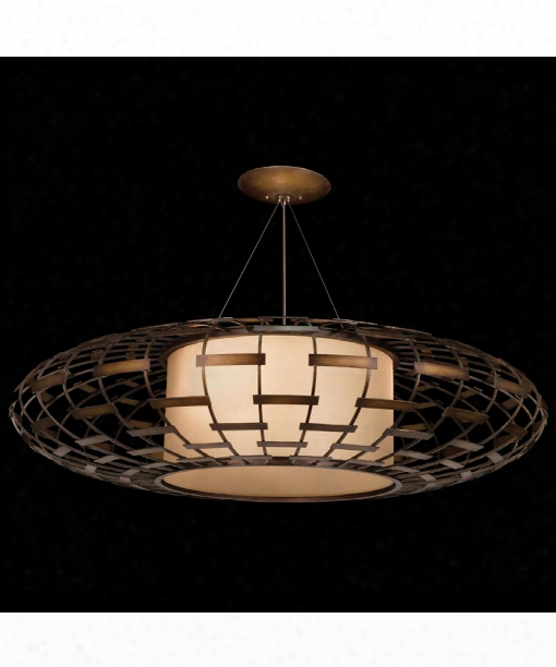 "Entourage 54"" 3 Light Large Pendant In Rich Bourbon With Golden Mist Highlights"