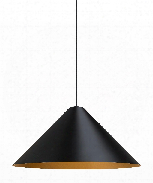 "Konos 28"" 1 Light Large Pendant In Black-satin Gold"